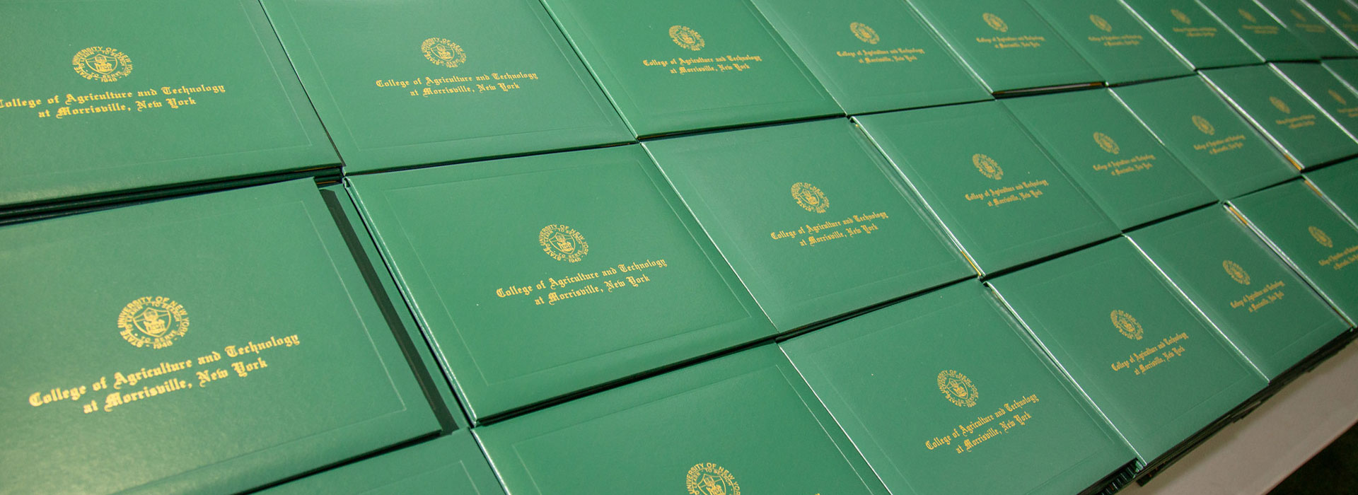 Diploma covers laid out for Commencement