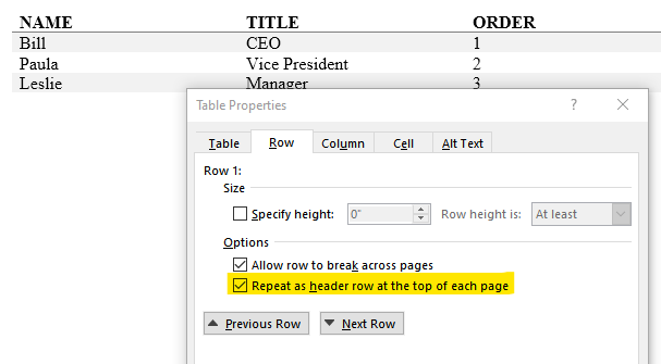 Designate table headers by select the header row, choosing Properties and checking the 'Repeat as header across pages' checkbox