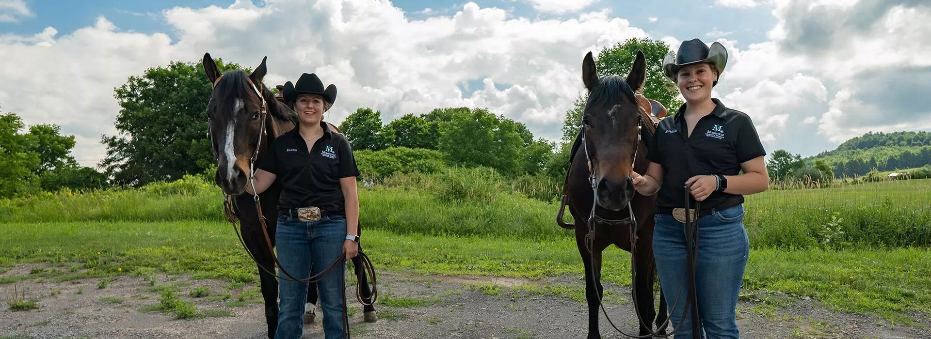 Horses who once relied on classes of students for their care, learned to rely on unheralded equine students and dedicated faculty and staff to keep them going during the COVID-19 quarantine, including Kaitlin Renschen, left, with Donald, and Kendalle Booth with Wilma.