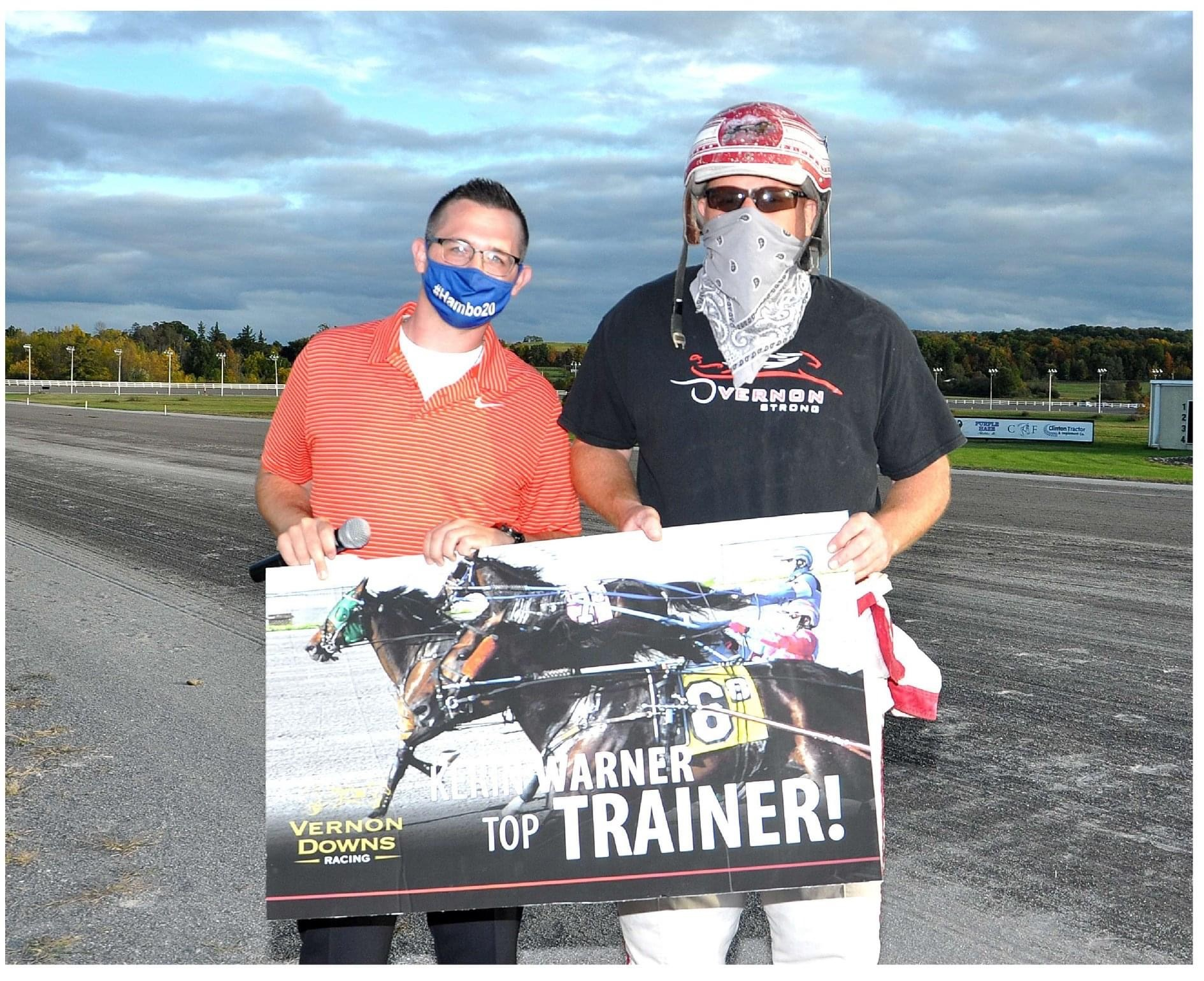 Kerin Warner poses after taking top trainer at Vernon Downs racetrack