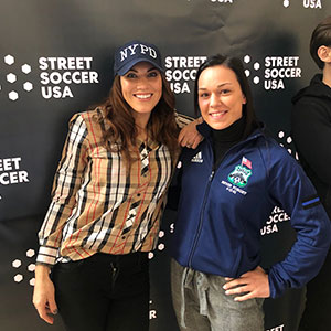Angela Marriott, right, poses with Hope Solo, former United States Women's National Team (soccer) goalkeeper.