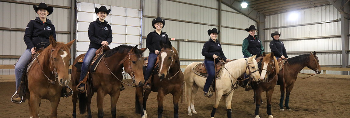 Western riding students and their horses