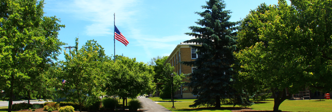 Campus path with flag