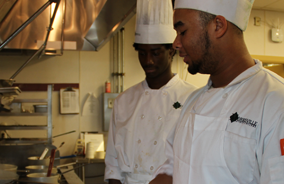 Culinary students working in the kitchen