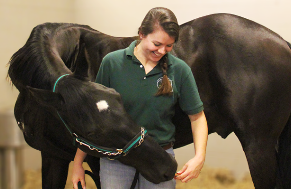 Equine student with her horse