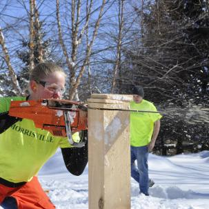 SUNY Morrisville woods sports team member Agnes Olson readies for competition