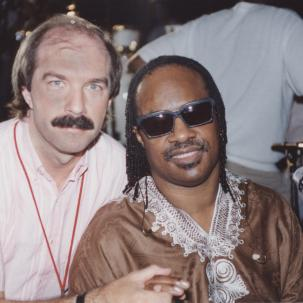 Larry Droppa with Stevie Wonder on his tour