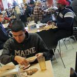 students eating at seneca dining hall