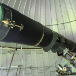 The Observatory's 12.5-inch, handmade Schelter Newtonian telescope estimated to be 100 years old